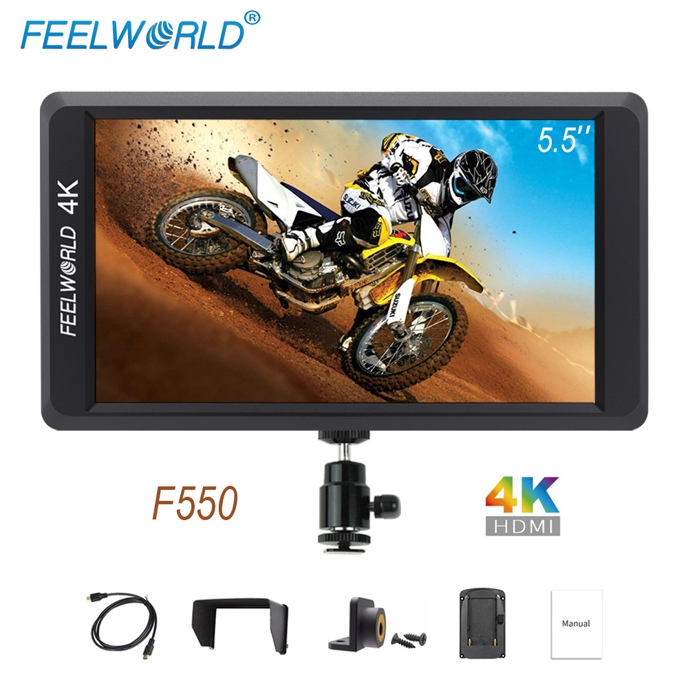 Feelworld F550 On Camera Mini Monitor 5.5 inch 4K HDMI Input Output IPS Full HD 1920x1080 for Stabilizer DSLR Mirrorless Cameras