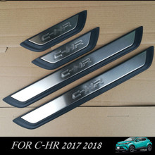 Cubierta Etiqueta Engomada del coche para Toyota C-HR 2017 2018 Adornos de Puerta de Coche Del Travesaño de Acero Stainess para CHR C-HR 2017
