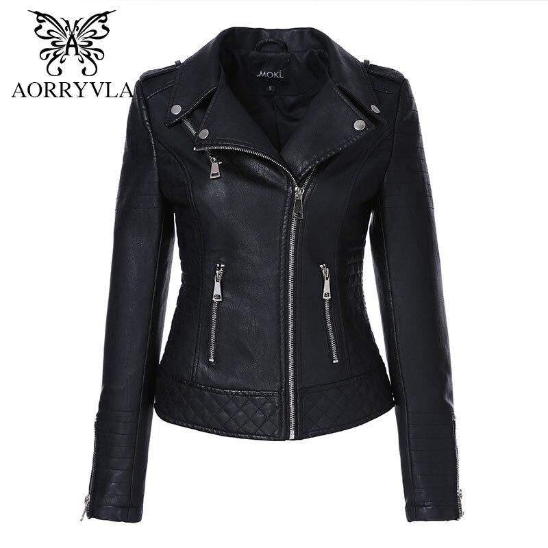 AORRYVLA 2020 New Fashion Women Leather Jacket Motorcycle PU Leather Coat Black Turn-Down Collar Short Zipper Slim Ladies Jacket