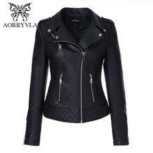 Zipper Jacket AORRYVLA Outwear Moto Turn-Down-Collar Biker Faux-Leather Black Autumn