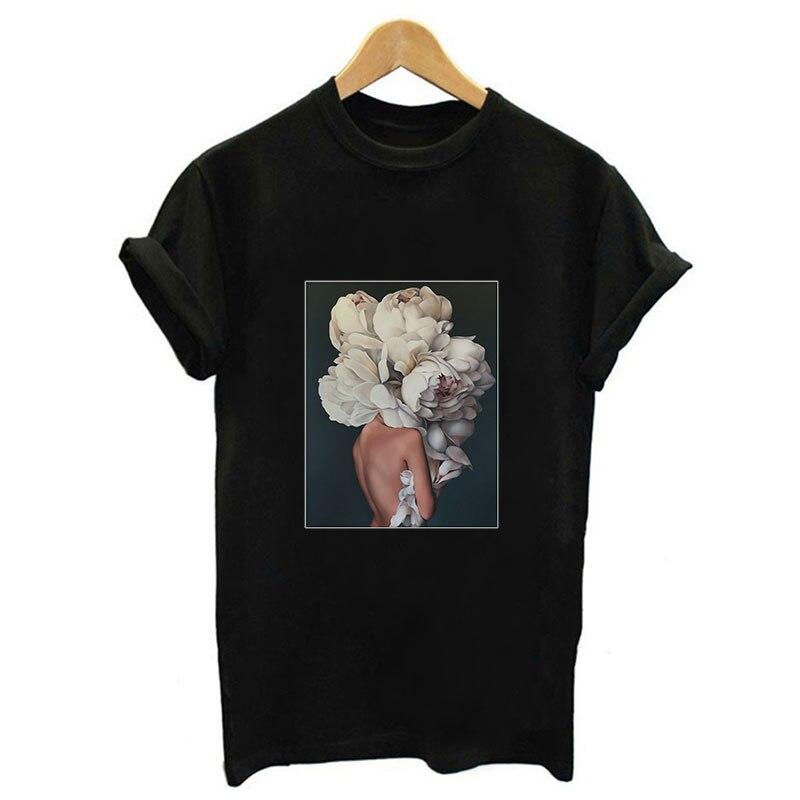2019 Summer Women Sexy Top   Shirt   The Human Body Art Flower Harajuku Print   T  -  shirt   Short Sleeve O-neck For Women   Shirt   4 Colors