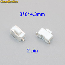 ChengHaoRan 20 pcs 3 * 6 * 4.3mm 2pin SMD Tact Button Switch Micro Touch Switch 3x6x4.3 H White Button