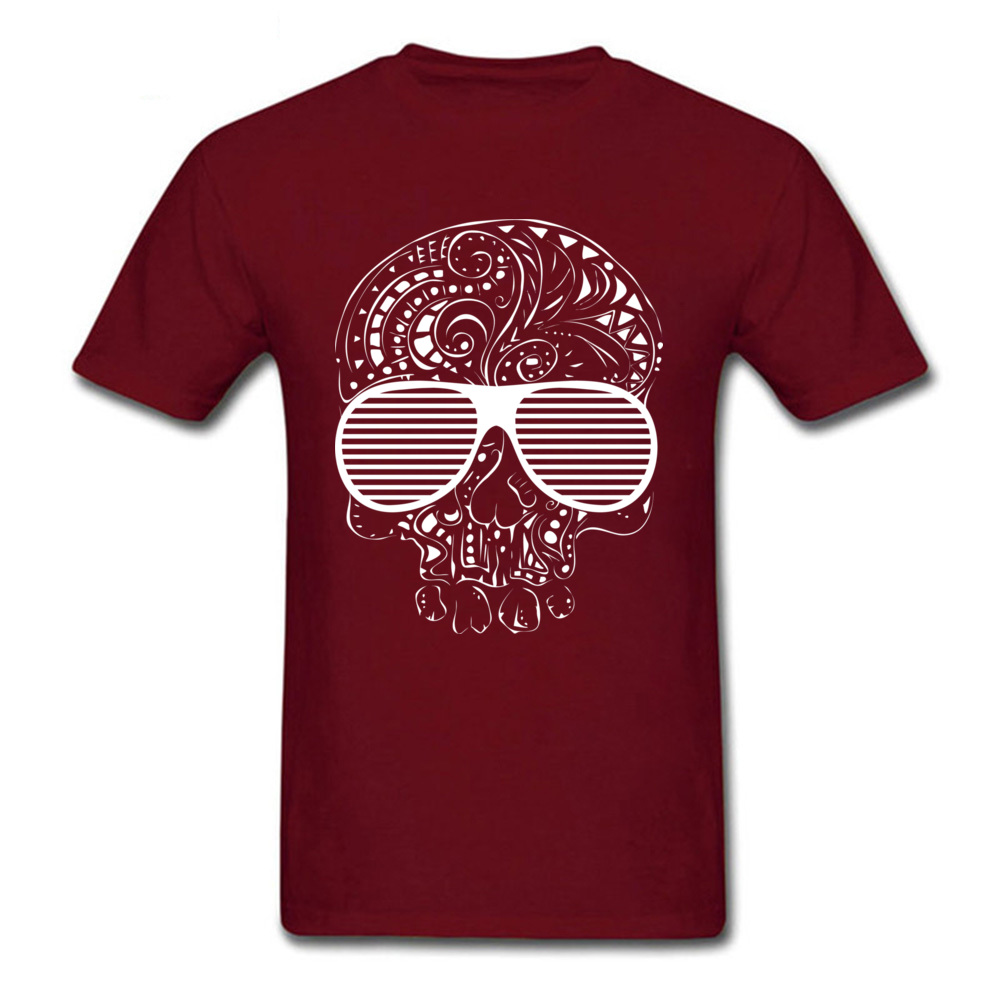 Fitness Tight Limited Edition Skull T Shirts Brand Fall Short Sleeve Crewneck T Shirt Cotton Fabric Mens Printed On Tee-Shirt Limited Edition Skull maroon
