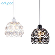 Artpad White Black Modern Crystal Pendant Lights AC110V-220V Metal E27 LED Suspension Lamp For Dining Room Living Room Luminaria artpad white black modern design metal pendant lights for dining room kitchen e27 base bird cage retro pendant lamp bar light