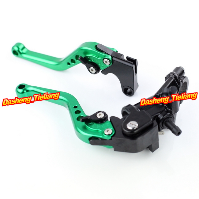 Adjustable Motorcycle Brake Clutch Levers w/ Adapter For Yamaha YZF R1 2004-2013 & YZF R6 2006-2013 Green High Quality with logo yzf r1 black titanium adjustable folding motorcycle brake clutch levers for yamaha yzf r1 2004 2005 2006 2007 2008