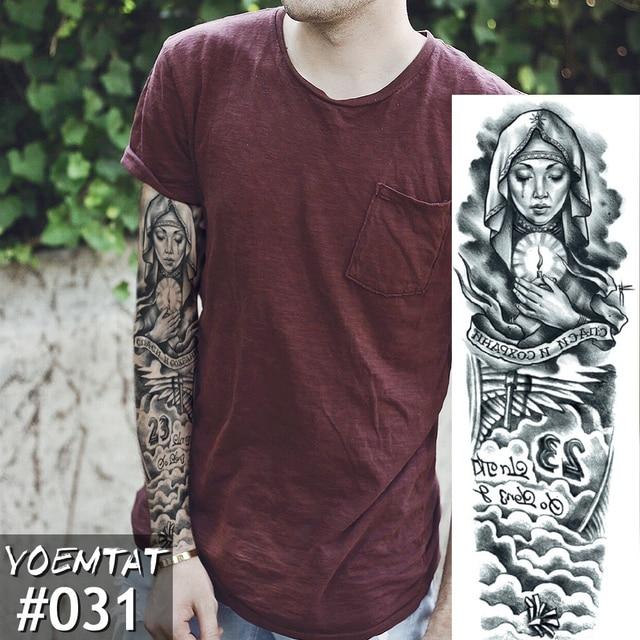 New 1 Piece Temporary Tattoo Sticker Pray Mechanical Design Full Flower Tattoo with Arm Body Art Big Large Fake Tattoo Sticker