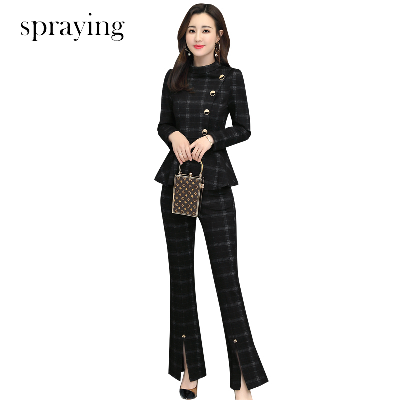 2019 women Plaid two piece set elegant slim business suit long sleeve office lady Suit ensemble