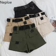 Neploe шорты с высокой талией женские летние повседневные Карманы пояса короткие Feminino свободные брюки карго шорты 43934