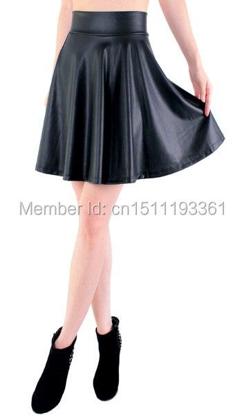 Бесплатная доставка новые высокой талией искусственной кожи конькобежец flare юбка мини-юбки выше колена сплошной цвет юбки S/M/L/XL