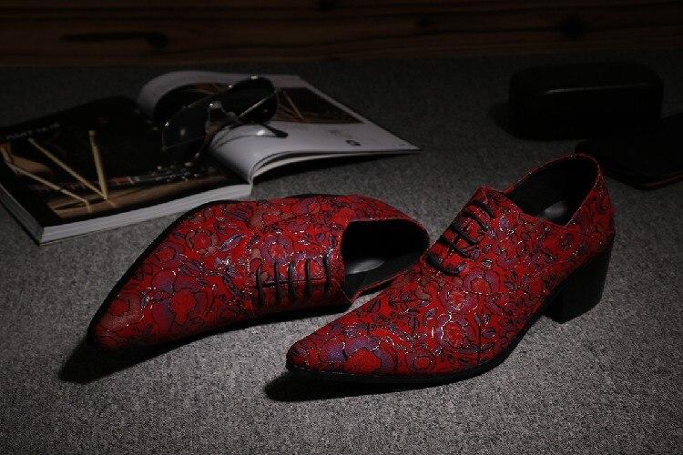 CH. KWOK Rode Handgemaakte Lederen Mens Designer Dress Schoenen Puntschoen Mannen Lace Up Oxford Hakken Schoenen Florals Wedding formele Oxfords - 4