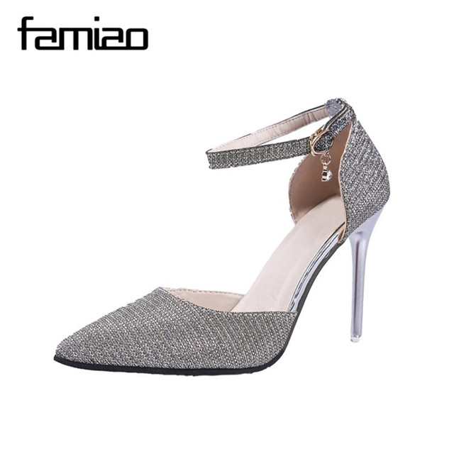 0a14ff6180acc FAMAIO Women Elegant Thin High Heels Fashion Buckle Crystals Bling Pumps  Point toe Party Wedding Shoes Woman Glod Sliver Black