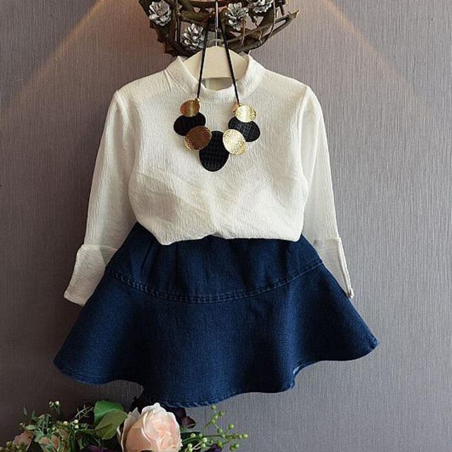 Moda outono flare das crianças das crianças meninas tops de manga longa t-shirt + denim jeans saias tutu 2 pcs conjuntos de roupas princesa ternos s3694