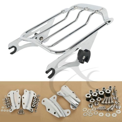 Luggage Rack 2 Up Tour Pak + 4 Point Docking Kit For Harley Touring Street Glide Road King FLHT FLHX FLTR FLHX 09-13 adjustable 1 2 inches lowering kit for harley touring road king electra street glide flhx flht 2002 2016