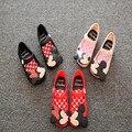 Mini melissa marca niños sandalias 2016new llano jalea botas de lluvia de la muchacha del verano niños pequeños zapatos de minnie del niño suave del pvc