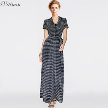 Womens 2016 Summer Dresses Elegant Vintage Tartan Plaid Sexy Pocket Belted Work Office Casual Maxi Long Shirt Dress With Belt