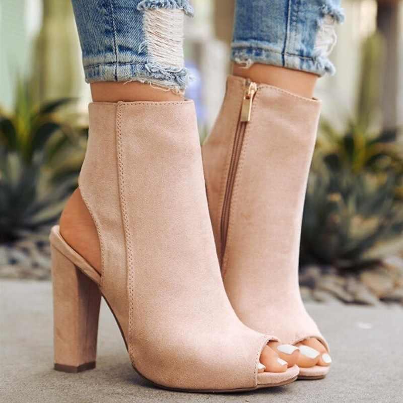 คลาสสิกข้อเท้ารองเท้าหนัง Faux Suede เปิด Peep Toe รองเท้าส้นสูงซิปแฟชั่นสแควร์สีดำรองเท้าผู้หญิง sanda