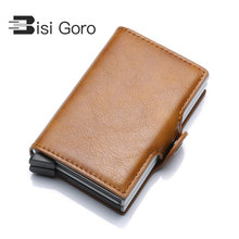 BISI GORO 2019 Vintage Unisex Metal Business ID Credit Card Holder Thin Wallets Pocket Case RFID Package For Travel