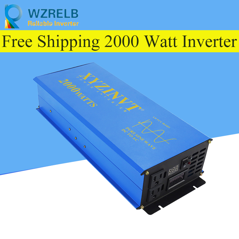 Peak Full Power 2000w Pure Sine Wave Solar Power Inverter Dc 12v 24v 48v Converter Solar power inverter with Dual Display in Inverters Converters from Home Improvement