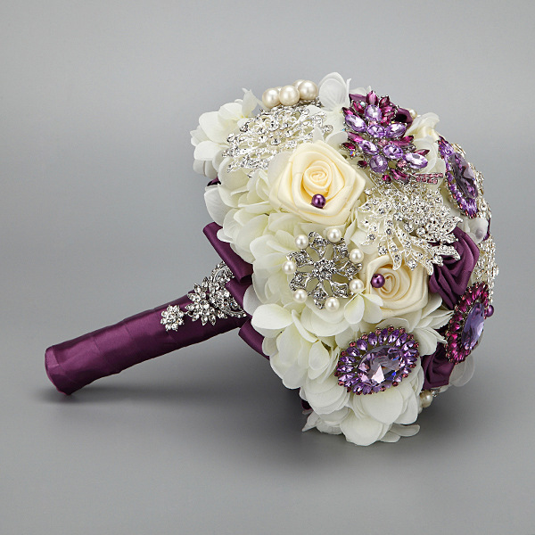 Handmade Fashion Wedding Brides Bouquet Brooch Crystal Pearls Silk
