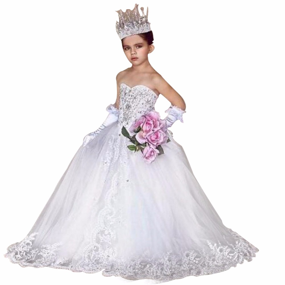 ZYLLGF Bridal Sweetheart Ivory/White Tulle   Flower     Girl     Dresses   Crystal Beaded Luxury Little   Girls   Pageant   Dress   With Bow FP38