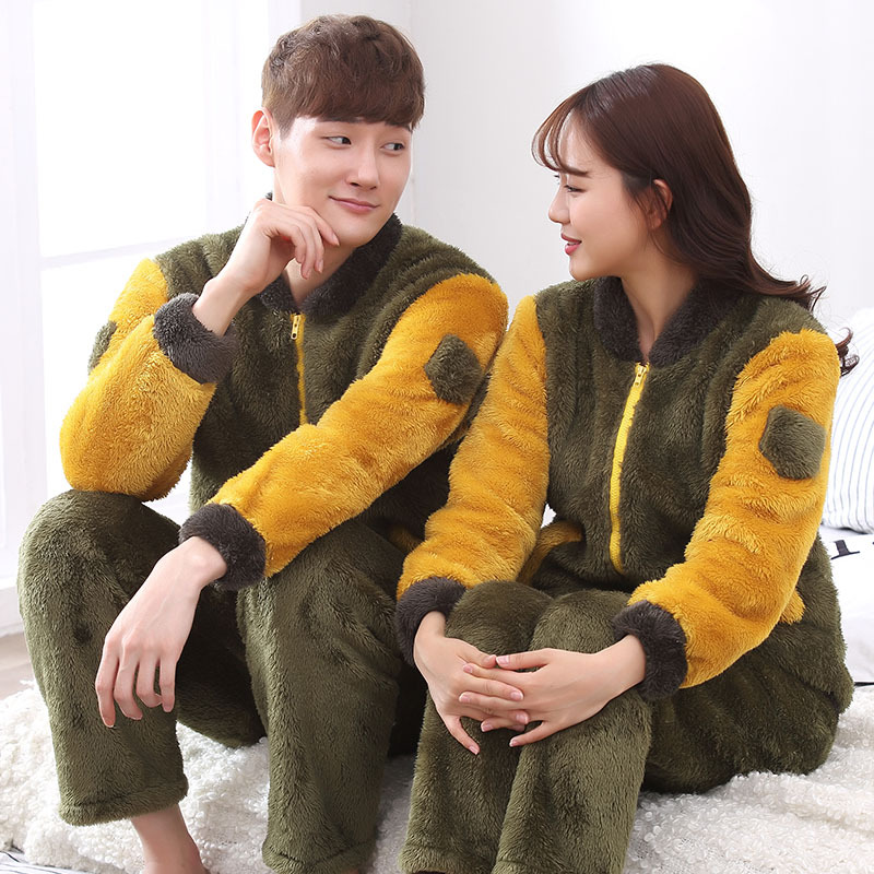 Winter Couples Thick Warm Flannel Pajama Sets Women Long Sleeve Soft Zipper Pyjama Men Homewear Clothing