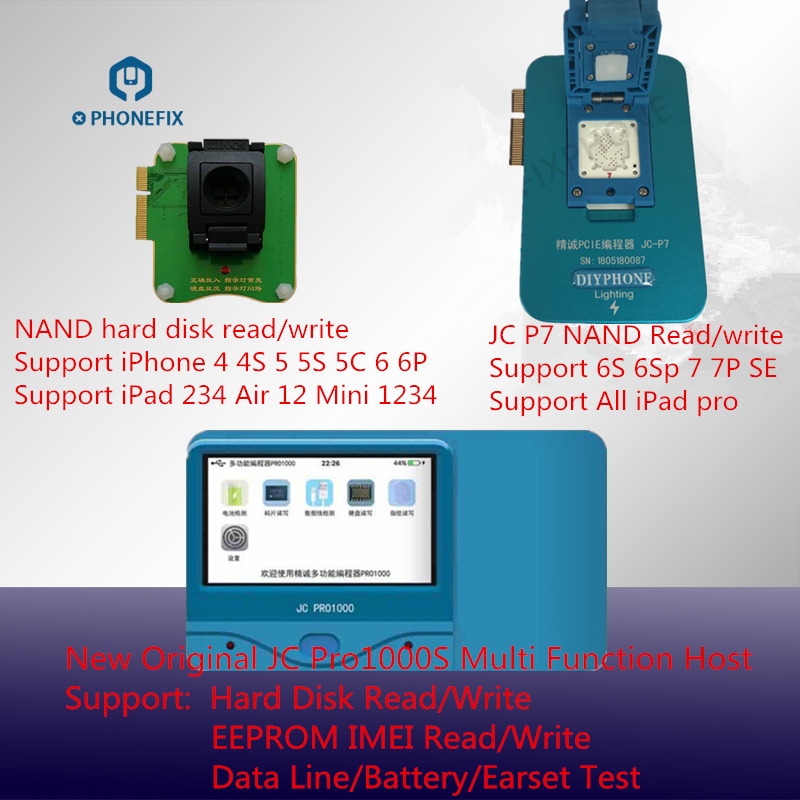 JC Pro1000S PCIE NAND Programmer Serial Read Write Repair Tool For iPhone 4S 5 6 6S 7 8 8Plus X All iPad Memory Upgrade