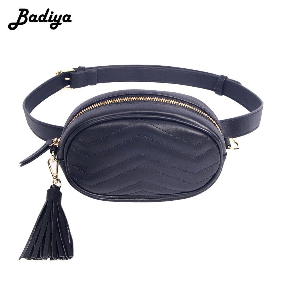 Elegant Brand Waist Bags Ladies Solid Belt Bag Women Pu Leather Tassel Fanny Packs Female Large Capacity Box Wallets Phone Bag