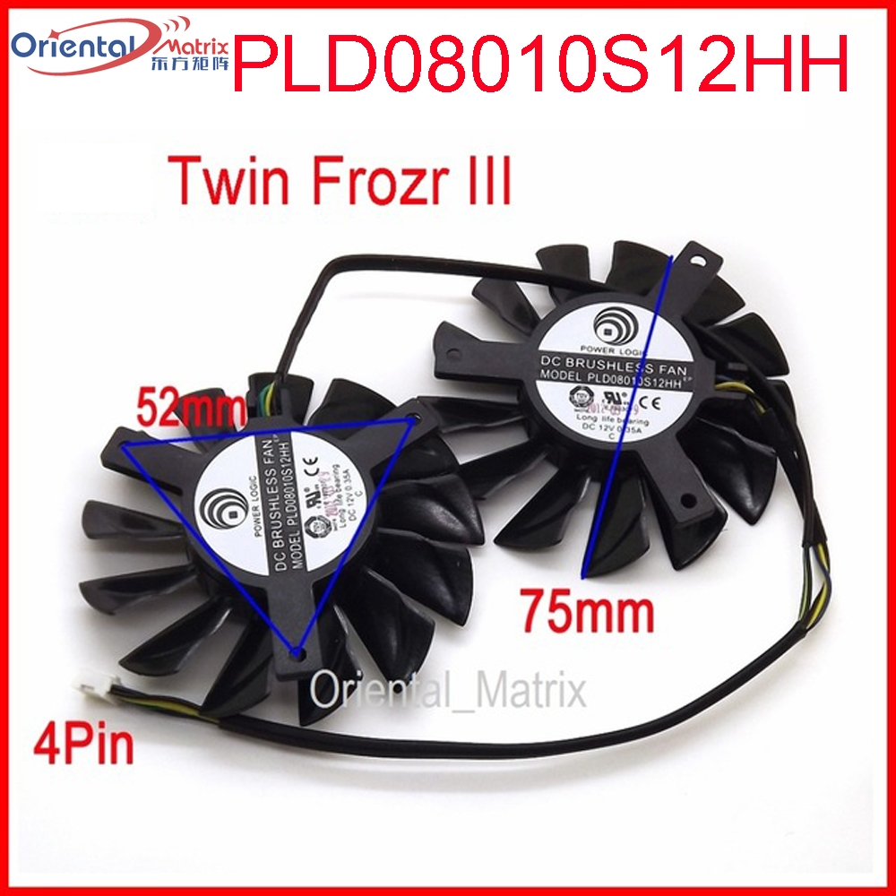 Free Shipping 2pcs/lot PLD08010S12HH DC 12V 0.35A 75mm Dual Fans Replacement Video Card Fan MSI Twin Frozr III 4Pin 75mm pld08010s12hh graphics video card cooling fan 12v 0 35a twin for frozr ii 2 msi r6790 n560gtx r6850 n460gtx dual cooler fan
