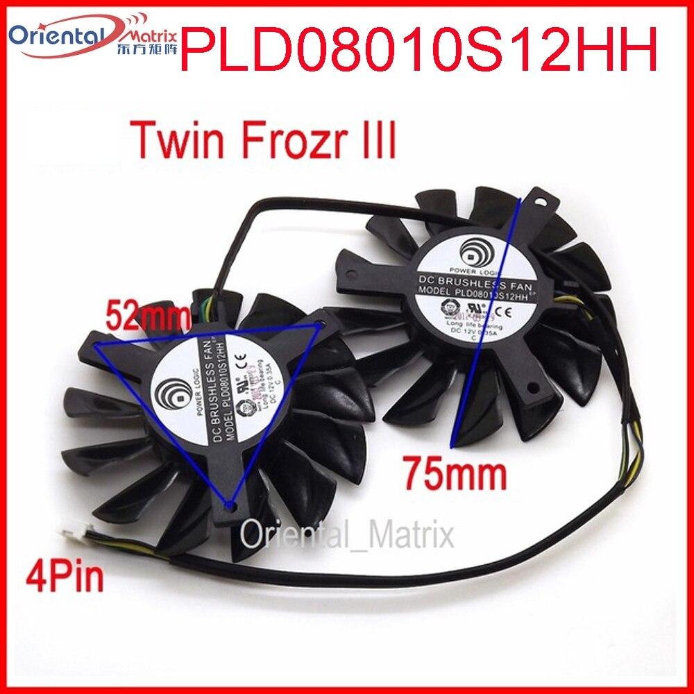 Бесплатная доставка, 2 шт./лот, PLD08010S12HH DC 12 В 0,35a 75 мм два вентилятора, замена видеокарты, вентилятор MSI Twin Frozr III 4Pin
