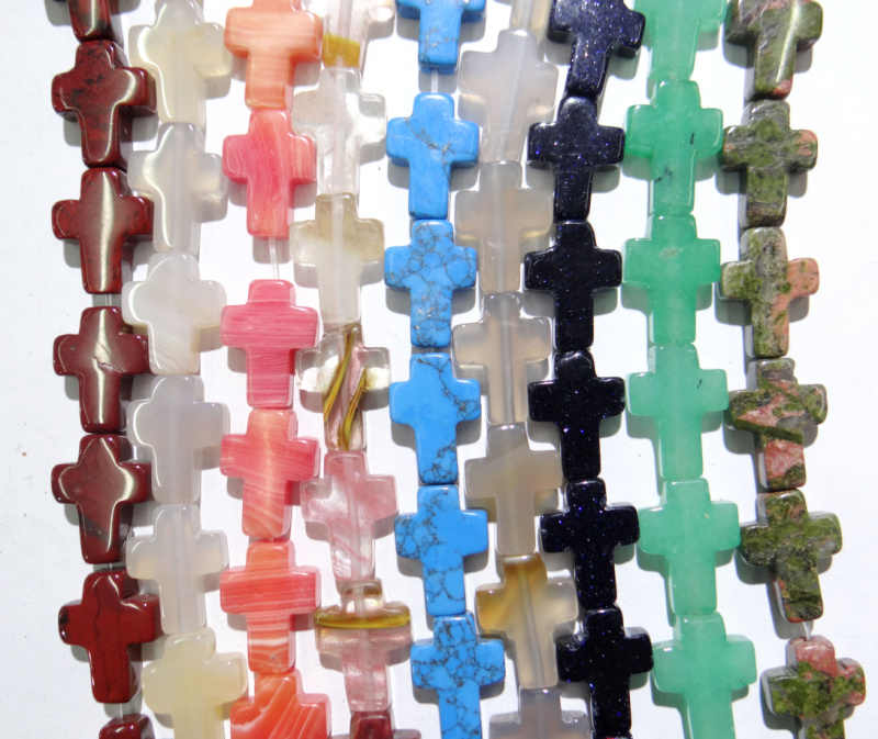 12x16mm Natürliche stein rosa quarz kristall Achate türkisen verkrustete kreuz Perlen für DIY Schmuck Machen halskette anhänger 25 stücke strang