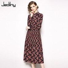 Elegant Long Sleeve Women Vintage Dress Fashion Bow Slim Fitted Geometric Print Dress Party Dress Vestidos