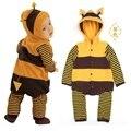 Hoodies Do velo Do Bebê Macacão casacos de Abelhas Tarja Corpo terno de lã roupas tarja bebê menino casaco