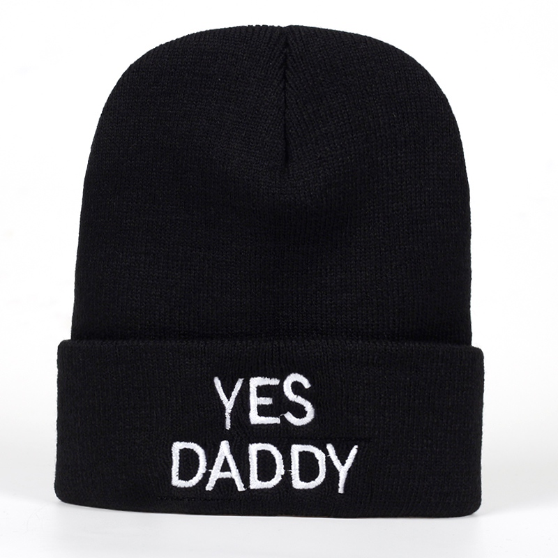 2019 Yes Daddy Embroidered Knitted winter hat Cotton men women Hip ... 58b138b023e