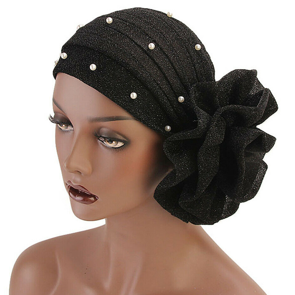 Women Hat Shiny Solid Muslim Turban Faux Pearl Decor Cap Stretch Breathable Soft   Wrap   Hijab Gift Big Flower