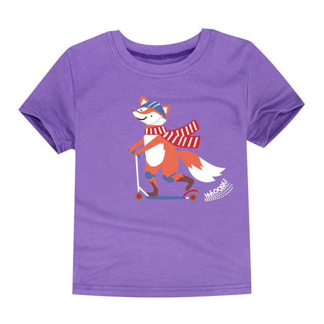 SMHONG 2-14 Years Old Fox Children Kids Shorts sleeve Tops Tees T Shirt Summer Teenager Boys Girls T-Shirt For Gift