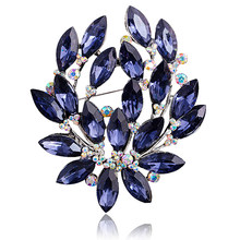 Cincin Wanita Bluelans Biru Bunga Bros Pin Zircon Kaca Alloy Pernikahan Pesta Perhiasan(China)