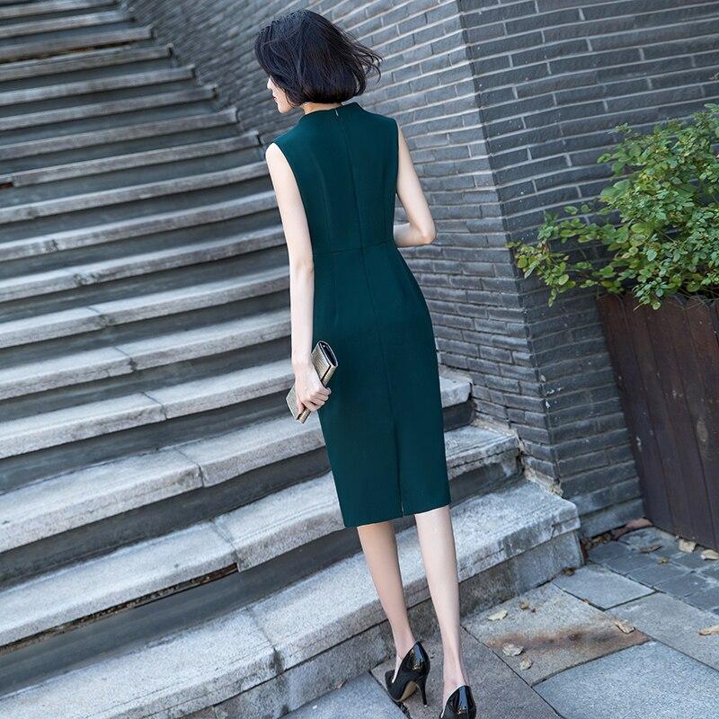 Vrouwen volledige jurk vrouwelijke nieuwe 2019 modieuze temperament is eenvoudig en gemakkelijk lange lijsten tonen dunne zomer jurk - 5
