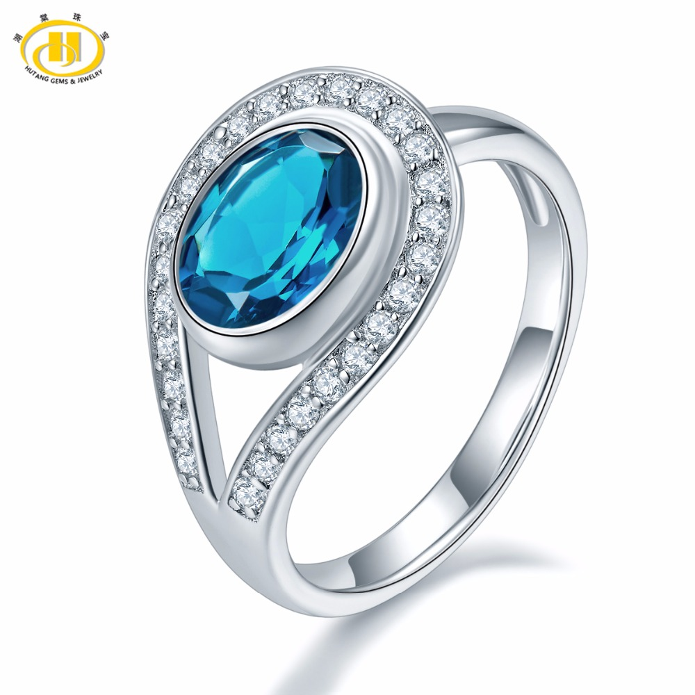 Hutang Wedding Ring Solid 925 Sterling Silver Natural Gemstone London Blue Topaz Fine Stone Jewelry For Presents Gift Christmas showcase presents blue beetle volume 1