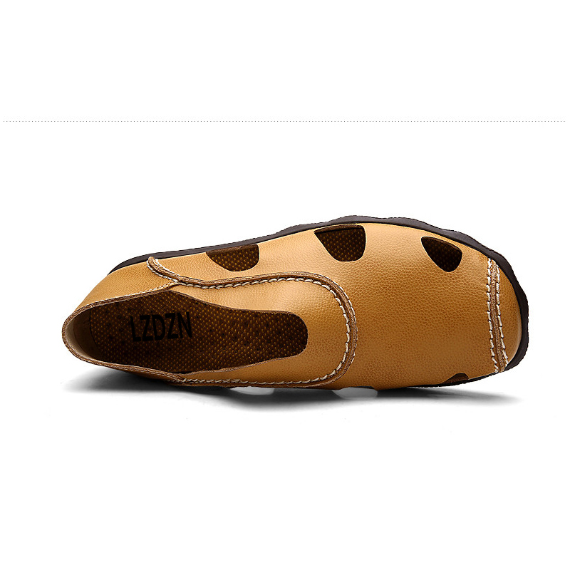 be2333b38ce Summer sandals shoes middle aged men drag Baotou dad sandals breathable  leather slippers summer men half hole-in Men s Sandals from Shoes on  Aliexpress.com ...