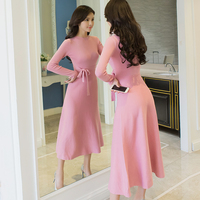 Sweety Beauty Women Elegant Dress Solid Color O Neck Sashed Full Sleeve A Line Outwear Female