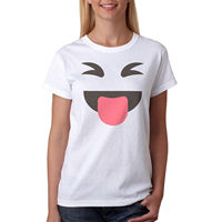 Funny Face Emoji Image Women S White T Shirt NEW Sizes S XL 2017 Female T