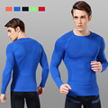 New hot sale men long sleeve workout fitness t shirt men thermal muscle bodybuilding compression tights tee shirt homme