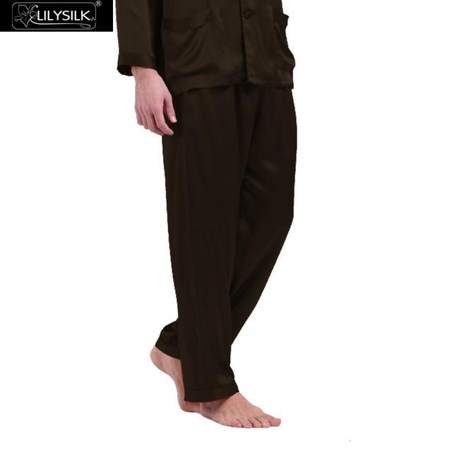 Lilysilk Brand Clothing Men Silk Pajamas Bottom Pants Long Sleep Wear 19 Momme Pure Lounge Male Pyjamas Home Pant L Chocolate