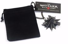 Hip Hop Anime Game Necklace The Witcher 3 Wolf Head Pendant Jewelry With Card Bag Black Red Eyes Necklaces&Pendants For Men Gift(China)