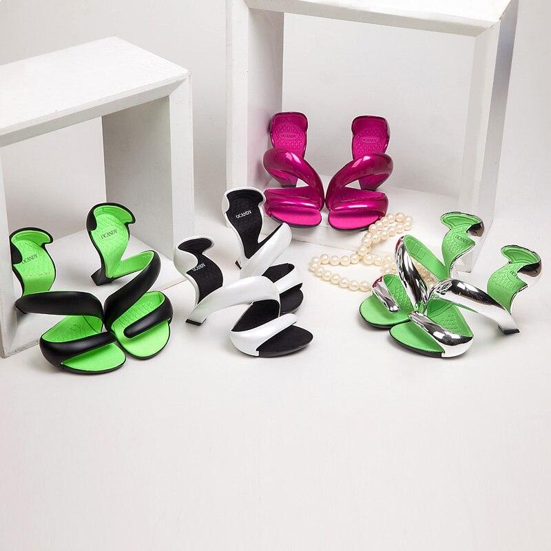 Koovan femmes sandales 2017 été nouvelle mode sans fond serpent talons hauts plate-forme sandales chaussures femme chaussures de mariage femmes pompes - 4
