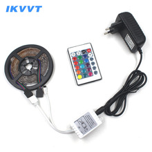 IKVVT 5m RGB LED Strip light 2835 Light 12V Led Flexible Non-waterproof Tape Ribbon Tire Emitting Diode + Power Supply