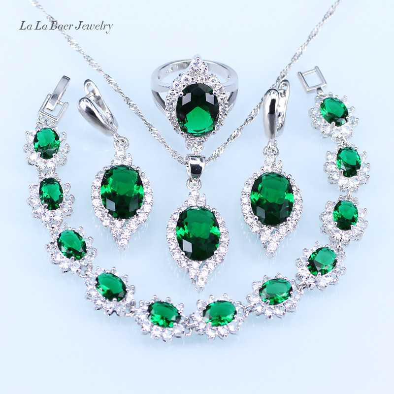 26aa607c78 US $27.28 |L&B Classic silver 925 Jewelry Sets Women wedding Green created  Emerald Bracelet/pendant/Necklace/Earrings/Ring-in Bridal Jewelry Sets from  ...