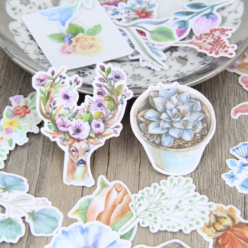 30pcs Watercolor Flower Deer Succulent Plant  Scrapbooking Stickers Floral Plants DIY Craft Decorativ Sticker Pack