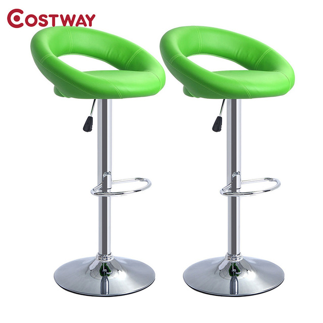 Costway 2pcs Modern Adjule Faux Leather Swivel Chair Bar Stool Commercial Furniture Tool Hw50127