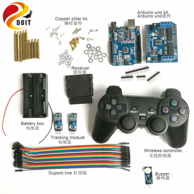 Wireless Handle Control Kit with UNO Board+ Motor Drive Shield Board+ Joystick Controller+Tracking+Buzzer for Arduino Robot Car 5v 2 channel ir relay shield expansion board module for arduino with infrared remote controller